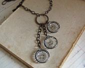 Glass Button Cascading Necklace Vintage Buttons