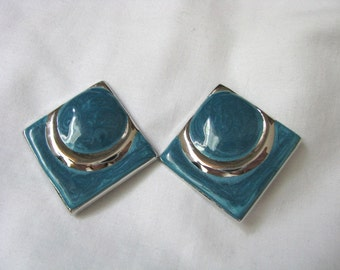 Teal blue & silver tone geometric clip on clip back earrings