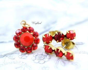 Triple Rhinestone Earring Studs Swarovski Crystal Ear Posts Set Stones Charm Pendant - Opaque Red & Light Siam
