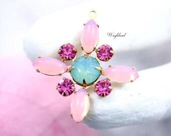 Rose Pink Pacific Green Opal Pink Opal Vintage Stones Starburst Pendant Swarovski Crystal Brass Setting 30mm