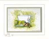 SALE Hand Accented tea Fairy 5x7 matted 8x10 by Amy Brown