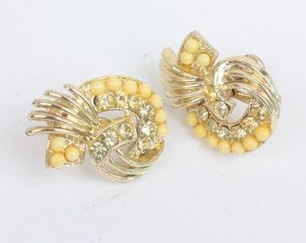 Yellow Rhinestone Beaded Earrings Gold Tone Screw Back Vintage