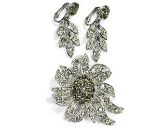 Celebrity Rhinestone Brooch Earrings Demi Parure Set Smoky Grey Clear Stones
