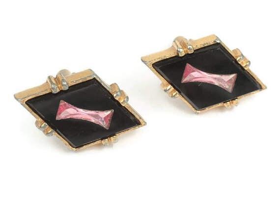 Black Glass Cuff Links Pink Inset Diamond Shaped Vintage Cufflinks