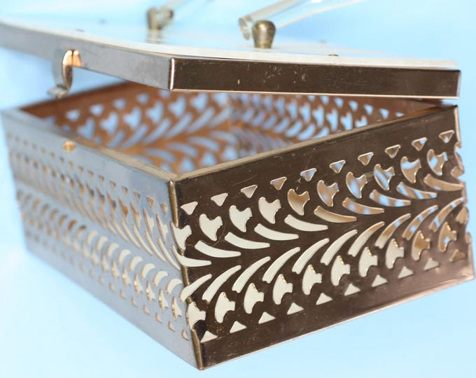 Pearlized Lucite Vanity Case Purse Gold Tone Metal 1950's