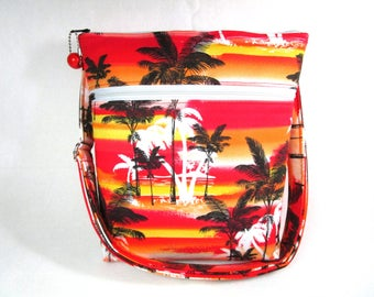 Sunset Palm Trees Fabric Hip Bag / Cross body / Washable / Cell Phone Pocket
