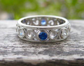 Blue Sapphire & Diamond Wedding Band in 14K White Gold with Milgrain Detailing on Ring Edges and Scrolls Size 7