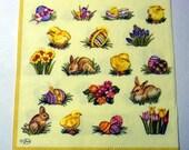 Decoupage Napkins,  vintage paper napkins, easter eggs and rabbits