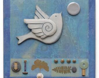 Spirit bird, mixed media assemblage,Ceramic wall art,bird,art,original handmade,one of a kind,clay,Leaves, beach stones meditative