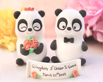 Funny wedding cake toppers Pandas - bride and groom figurines cute personalized elegant gift anniversary black white coral pink names sign