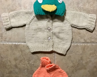 Sarah and Duck Hooded Sweater Made to Order 0-24 months