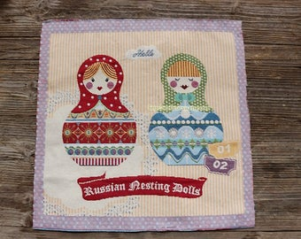 Retro Double Folk Dots Floral Matryoshka Russian Nesting Doll - Embroidery Fabric Square Panel Home Decor Fabric (1 Panel, 21.5x21.5 Inches)