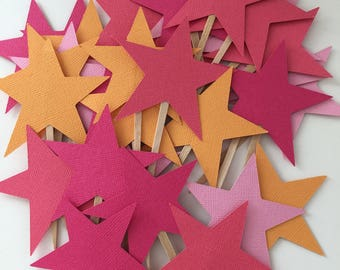 Star Cupcake Toppers - Pink and Orange