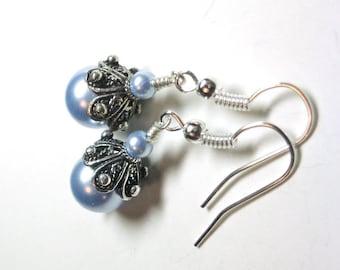 Blue Pearl Earrings, Swarovski Blue Crystal Pearls, Swarovski Pearl Earrings, Silver, Jewelry Earrings, Spiritcatdesigns