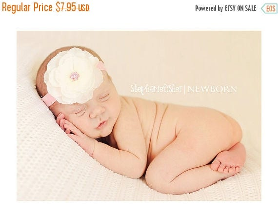 Newborn Headband - Baby Headband - Infant Headband - Toddler Headband - White Flower Clip with Pink Headband - Photo Prop