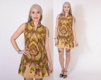 Vintage 60s MINI DRESS / 1960s Ethnic Batik Cotton Boho Sun Dress XS - S