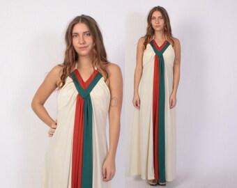 Vintage 70s Maxi DRESS / 1970s Colorblock Stripe Backless Bohemian Halter Dress XS - S