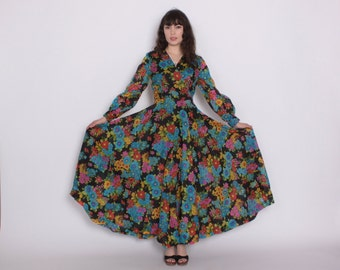 Vintage 60s Floral DRESS / 1960s Bright Chiffon Full Skirt Maxi Gown M