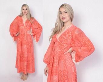 Vintage 70s Boho DRESS / 1970s Angel Sleeve Patchwork Print  Cotton Empire Waist Festival Maxi Dress