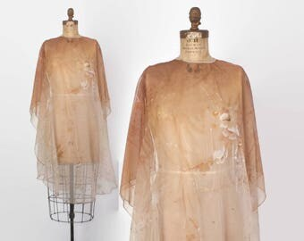 Vintage 70s Sheer CAPE / 1970s Sheer Ombre Brown Glitter Floral Capelet Cover-Up