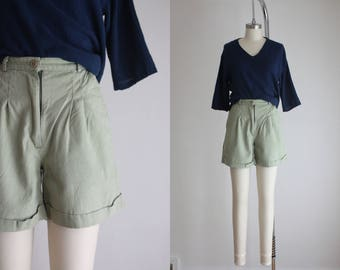 high waisted sage shorts