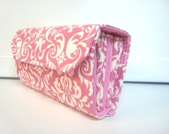 Cash Envelope Wallet  / Dave Ramsey System / Zipper Envelopes / Cash Envelope System - Pink and White Damask