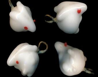 Button--ONE Tiny Vintage Glass Whimsy White Rabbit