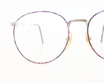 1980s Round Pink Eyeglasses Metallic Rose Gold Metallic 80s Eighties Huge Oversized P3 Optical Frames Womens Ladies Italy Italian