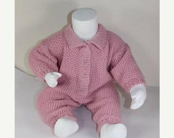 50% OFF SALE Instant Digital File PDF Download - Baby Simple Aran Moss Stitch Collar Onesie knitting pattern