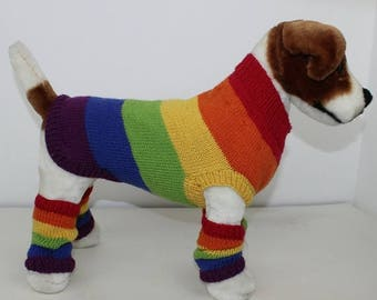 50% OFF SALE Rainbow Dog Coat and Legwarmers knitting pattern by madmonkeyknits instant digital file pdf download knitting pattern