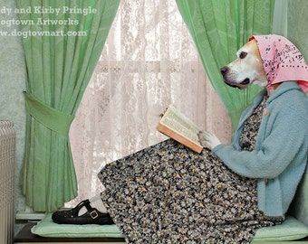 A Quiet Spot, large original photograph of Boxer dog wearing vintage clothes and reading a book in a quiet spot