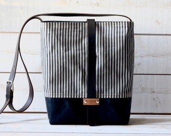 Waxed canvas bag ,cross body bag, waxed canvas day bag, leather strap shoulder bag, geometric nautical striped