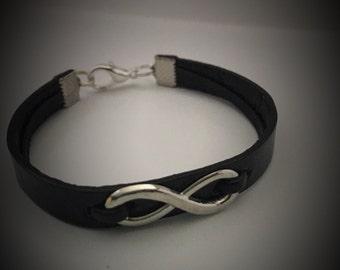 Infinity bracelet Leather bracelet Cuff bracelet Infinity jewelry Best friend bracelet Men's bracelet BFF jewelry Women's bracelet
