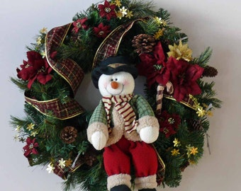 Happy Snowman Holiday Christmas Winter Door Wreath Wall Decor
