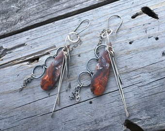 Sterling Silver Crazy Lace Agate Earrings Earrings One Of A Kind Handmade Jewelry