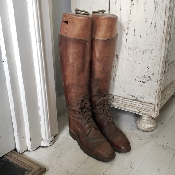 Antique Melton Mowbray Riding boots, all leather, wood liners