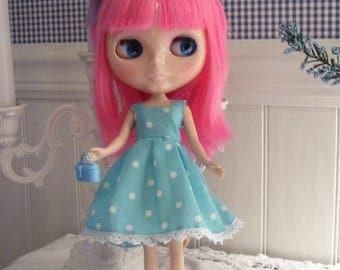 Sundress for Blythe Doll....Aqua/Blue Polka Dots