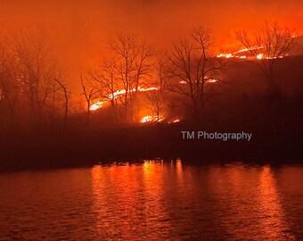 Night Burn - Burning - Burning Fields - Fire - Prairie - Prairie Fire - Kansas Prairie - Controlled Burn - Controlled Fire - Flint Hills