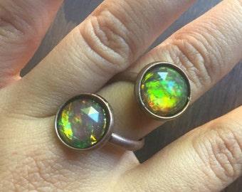 Adjustable Opal Wrap Ring Copper Twist Spiral finger Jewelry White Black Green Flash Fire Opal Jewelry