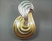 Monet Silver and Goldtone Modernist Brooch