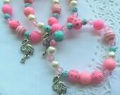 Flamingo party, flamingo bracelet, flamingo jewelry, birthday favor, pink, teal, kids jewelry, beaded bracelet, SET of TEN.