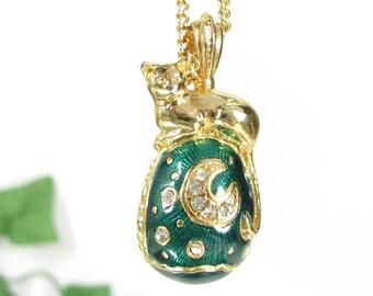 """Vtg EDGAR BEREBI """"Cat Of The Moon"""" Pendant Faberge Egg Enamel Retired Necklace"""