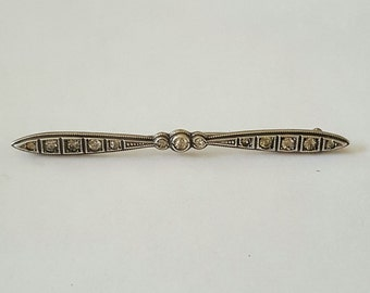 Vintage Diamonbar Art Deco Sterling Silver Crystal Bar Pin or Brooch