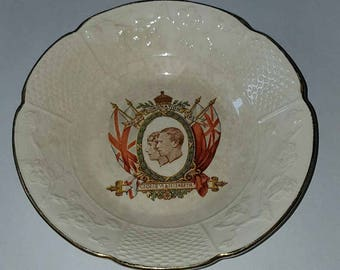 Vintage 1937 King George VI and Queen Elizabeth Coronation Bowl by W.H. Goss
