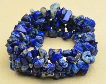 "Handcrafted Blue Lapis Lazuli Stretchy Bracelet 6 1/4"" Wearable Length"