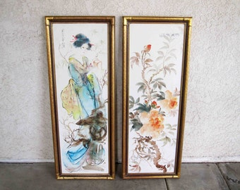 Vintage Pair of Japanese Watercolor on Canvas Paintings. Geisha and Flowers. Circa 1960's.