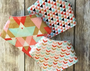 Baby Toddler Drool Bib Bandana Bibdana Waterproof - You Choose the Fabric - trendy baby gift triangles geometric chevron pink mint gold