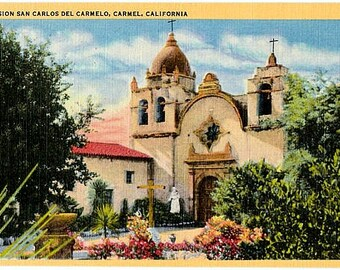 Vintage California Postcard - Mission San Carlos Borromeo de Carmelo (Unused)