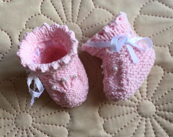 Instant Download #231 Knitting Pattern Pink Baby Booties with Pearls