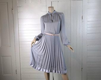 Gray Chiffon Secretary Dress- Pleated, High Neck- 1970s / 70s